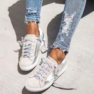 RESTOCKED!! Metallic Silver Low Top Star Sneakers